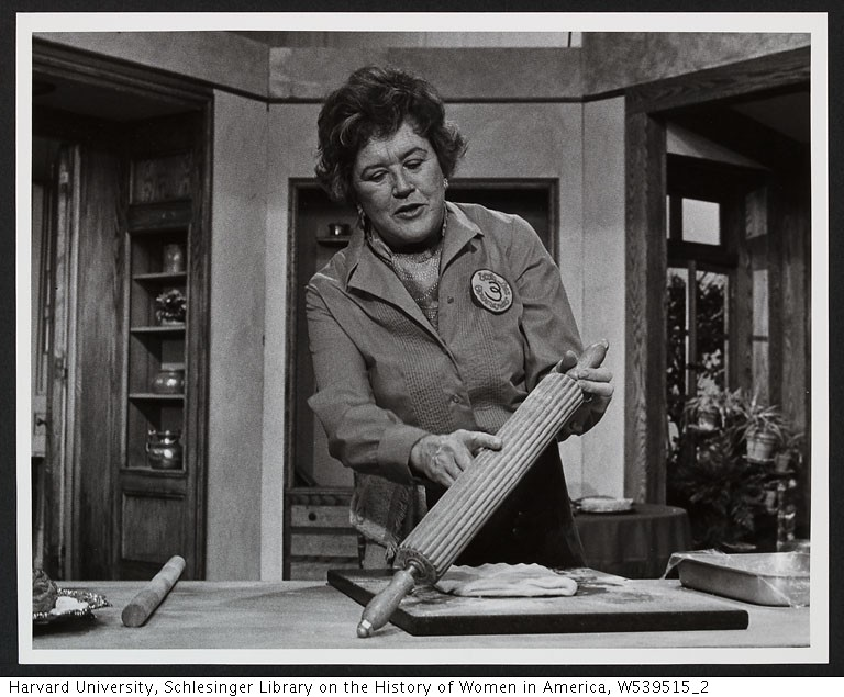Chef John Ash's Mentor Julia Child pointing to rolling pin while making puff pastry